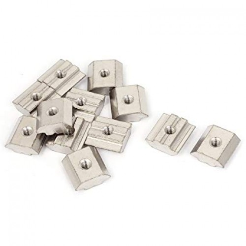 M5 30 Series Metal T-slot Nut Sliding Block Slot Nuts Silver Tone 10pcs [78316]