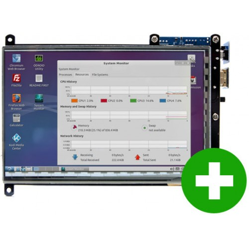 """ODROID VU7A Plus - 7"""" 1024 x 600 HDMI multi-touch display (with audio) [77703]"""